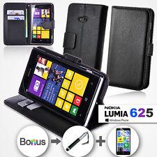 Premium Leather Stand Wallet Flip Case Cover for Nokia LUMIA 625 Bundle