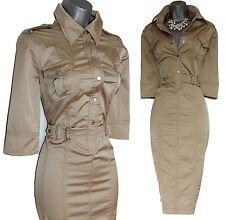 Karen Millen Shiny Beige Military Safari Shirt Trench Pencil Dress UK 14  EU 42