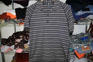 Icebreaker Merino Cool Lite Striped Gray Black Polo Golf Shirt Men's Large EUC
