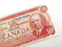 1975 Canada 50 Dollar Uncirculated ENH Crow Bouey Banknote Fifty R665