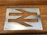 Polished Locomotive BR British Rail Double Arrow Logo Plate Sign Reverse