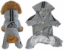 Dog Puppy Hoodies Jumpsuit Pet Clothes Warm Cute Grey Coat Jacket Pullover