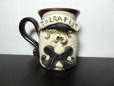 Therapist Handmade Sculpted Stoneware Pottery Funny Face Coffee Mug Signed
