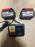 New 2 DEWALT DCB606 20v/60V FLEXVOLT 6.0 AH Battery DCB606-2 Dcb115 Charger