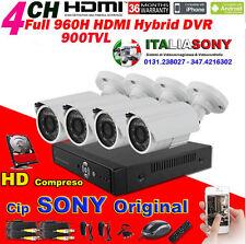 KIT VIDEOSORVEGLIANZA DVR 4 CANALI  + HD  + 4 SONY 900TVL + Cavi + Aliment.