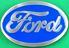 "Belt Buckle ""Ford"" Blue and metal Grey, 3.8cm Wide Belt DIY Custom Metal Casting"