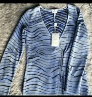 NWT $995 Armani Collezoni sweater,cardigan,off center zipper,Size 4,Blue,black