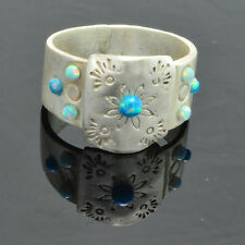 Handmade Vintage 925 Sterling Silver Ring Size 7.75 with Green Fire Opals