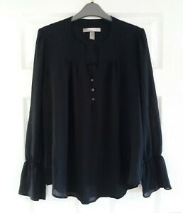 Love 21 Black Sheer Tunic Blouse Size M 12/14 Long Sleeve Party Workwear Gypsy