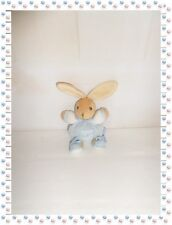 P - Mini Doudou Lapin Boule Bleu Blanc Beige Tricot Attache Sucette  Kaloo