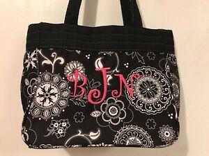 Thirty One Purse Black White Floral Mandala Personalized Monogrammed BNJ