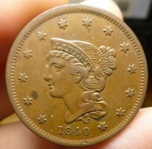 1840 Braided Hair Large Cent Small Date