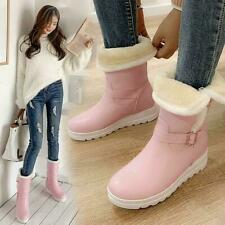 3Color Womens Winter New Snow Boots Thicken Warm PU Leather Booties US 4-10