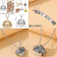 UK Expanding Photo Locket Necklace Silver Ball Angel Wing Pendant Memorial Gifts