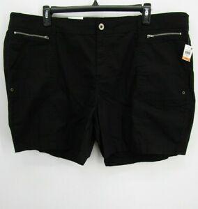 Style & CO Women Black Stretch Utility Mid Rise Chino Core Short Shorts Plus 24W