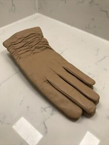 Stylish Ladies Leather Gloves - Camel Brown - Faux Fur Lined Medium