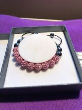 Pink Gems New In Gift Box Amour Braclet Black And Pink Beads Sparkly