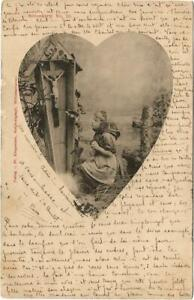 Little girl praying. Religious postcard posted in 1903.