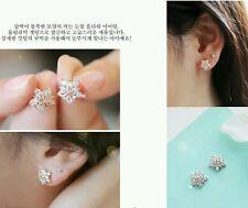 #1191 Korean Fashion Shiny Silver Pentagram Earrings Rhinestone Zircon Earrings