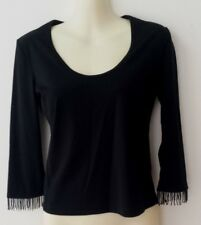 Black Top with Beaded Fringed Cuffs