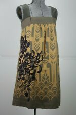 Floreat Anthropologie Shift Dress Art Deco Print Silk Size 2 Gold Flapper