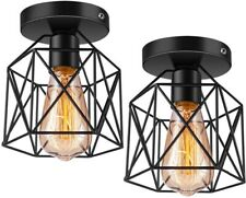 Retro Ceiling Semi Flush Mount Cage Light Fixture 2 Pack