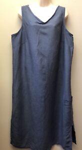 Avenue Women Plus 18/20 Sleeveless Linen Blend Chambray Long Summer Dress