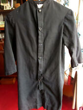 VTG 1940s Catholic Priest Alter Boy Black Cotton Relic Cassock Robe sz 10
