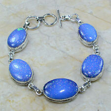 """Sparkling Dichroic Glass 100% Pure 925 Sterling Silver Bracelet 8.25"""" #A54470"""
