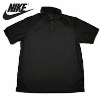 New Nike Dri-Fit Golf Polo Shirt Solid Black Large