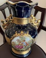 """Limoges LF Fine Porcelain Fragonard Courting Couple13""""Cobalt Gold Large Vase #"""