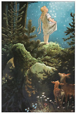Fairy Tale Postcard: Vintage Print Repro - Girl Under the Stars, Forest, Deer