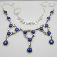 Natural Lapis Lazuli Necklace 925 Sterling Silver New Gemstone