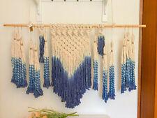 ♥ Makramee ♥ Wandbehang ♥ Boho ♥ Hygge ♥ Beige & Blau ♥ 120 x 70 cm ♥