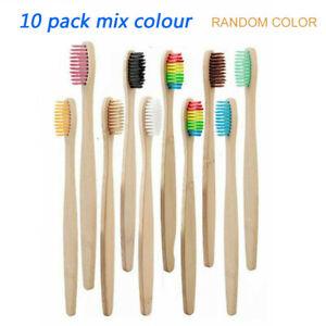10pcs Handle Wooden Bamboo Toothbrush Teeth Brush Wooden Oral Care Brush set