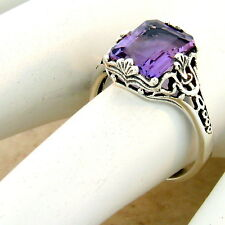 GENUINE BRAZILIAN AMETHYST 925 SILVER FILIGREE ANTIQUE STYLE RING SIZE 5,   #998