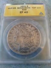 """1891- P Vam 2A Morgan Silver Dollar """"Moustache"""" Early Die State."""