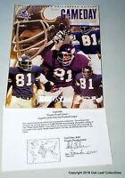 NFL Minnesota Vikings (HOF) Carl Eller  Autograph 2002 Game Day Program