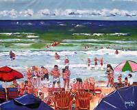 Ocean BEACH People Original Art PAINTING DAN BYL Contemporary Modern 4x5 feet