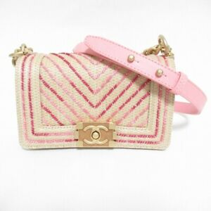 Authentic CHANEL A67805 Chain Shoulder Bag Tweed Patent Beige Pink Boy (310415)