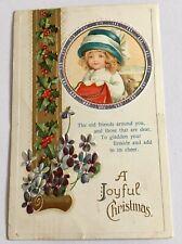 Antique German Christmas Postcard 1913 Little Girl Embossed Posted Bangor Maine