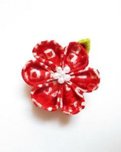 Red Shibori Lapel Pin, Vintage Silk Kimono Gift for Men, Ship from USA