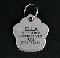 Stainless Steel Paw Shaped Pet Tag Free Engraving Personalised Custom ID Tags