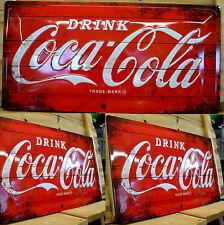 Blechschild Coca Cola  geprägt 3D Effekt ca. 50 x 25 cm Bar Hausbar Imbiss NEU