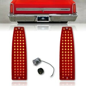 66 67 Chevy II Nova Red LED One Piece Rear Tail Brake Lamp Lenses & Flasher Pair