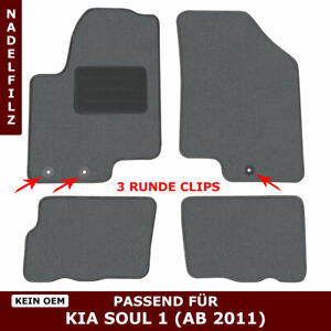 Automatten für Kia Soul AM (ab 2011) - Grau Nadelfilz 4tlg, 3 kia clips