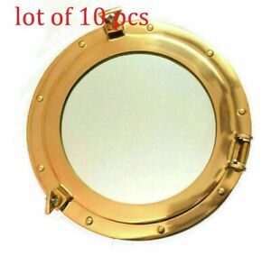 "Nautical12"" Large Porthole Maritime Boat Ship Brass Porthole Window Wall Mirror"