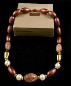 """LOVELY AVON FRESCO COLORS NECKLACE 22"""" LENGTH BROWN PEARL GOLD COLOR BEADS NOS"""