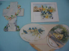 SET 4 OLD ANTIQUE VINTAGE EASTER GREETING CARDS FLOWERS CROSS CHICKENS CHURCH