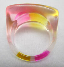 Vintage Hippy Retro Mod 1970'S Lucite Dome Boho Ring~Pink Yellow Clear Size 8.5